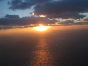 I was able to watch the sun set over the water as we neared NYC. it was breathtaking!