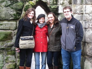 posing by the tiny archway--people must have been shorter back then!  Molly, me, Jordan, and Ross