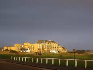 I walk by the Old Course and the hotel every morning that I have class and about a week ago the hotel was literally glowing golden from the way the light was hitting it, even though the sky was so dark. It was incredible!