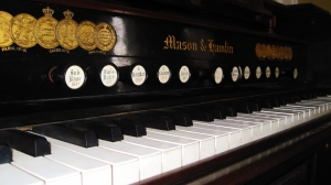 This is a close-up of a gorgeous old piano in one of the residence halls, St. Regulus.  So much history!