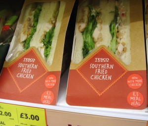 I was looking for dinner in Tesco (a grocery store) one evening and received more than a few strange looks when I started cracking up at these sandwiches.  Silly Scotland! Leave fried chicken to the American South.