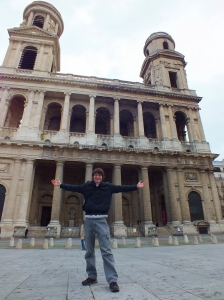 Scott posing in front of the Eglise Saint-Sulpice.  We didn't realise this was a church until we entered it--it certainly does not look like a traditional Catholic church from the outside. It was built during the reign of King Louis XIV.