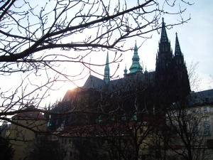 The sun was still rising as we walked the last bit up the hill to enter the Castle gates. This is looking toward Katedrála St. Víta, or St. Vitus Cathedral.
