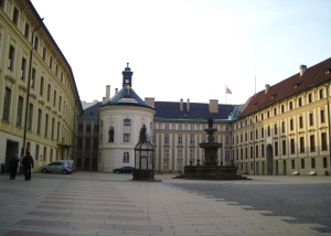 The courtyard of  Pražský hrad, or Prague Castle. It was so peaceful, cold, and beautiful!