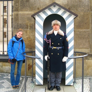 Of course, I had to pose with one of the royal guards!  We later heard one that was off-duty giving directions to some tourists.  Scott and I were trying to imagine how cold they must be, standing there for an hour at a time in literally freezing temperatures.  We were so cold ourselves, and able to move around!  Their noses were quite red by the end of the hour, bless them.