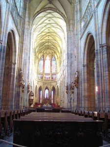 Inside the Katedrála St. Víta (St. Vitus' Cathedral), the seat of the Archbishop of Prague.  I keep using the same adjectives to describe the cathedrals of Europe, but each of them is truly magnificent.  Work on this one began in 1344.  What history!