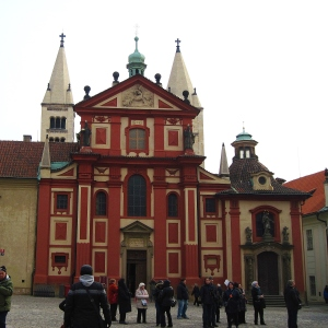 Bazilika Sv. Jiří (St. George's Basilica).  I don't think I have ever seen a church painted such a vivid colour before; I love it! This was originally built in 920, expanded in 973, and rebuilt following fire in 1142.