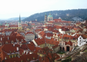 This was probably my favourite view of Praha the entire day!  I love everything about this picture, from the red roofs and bits of snow to the church steeples and the hills in the distance.