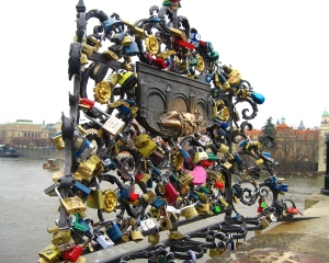 This bridge had a place specifically for lovers to add a lock, just like the bridge in Paris.  I love seeing symbols of love like this!