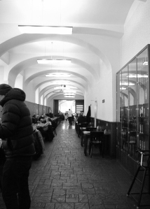 This is the restaurant we ate at, Lokal, which boasts of being the narrowest restaurant in Prague. I believe them!  I took this standing several metres in from the front door, looking toward the back.
