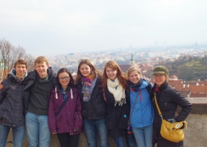 overlooking the city from the plaza outside the castle gates--beautiful view and beautiful people! left to right: Nick, James, Christabel, Anna, Hannah, me, Sarah