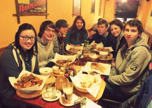 Our feast! clockwise from left: Christabel, Scott, Sarah, Hannah, James, Anna, and Nick