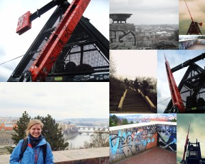Here is a collage of photos taken at the top around the metronome. There was tons of interesting graffiti everywhere; the big basin-looking thing in the top middle photo is one of 2 where the eternal fire flanking Stalin used to burn.