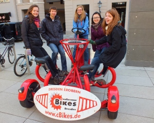 We found an awesome six-person bicycle and tried it out for size. It was quite an interesting contraption!