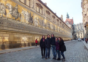 The Fürstenzug on Augustusstrasse; it was nearly impossible to get this entire mural into one shot, but it shows centuries of Germanic princes and historical figures.