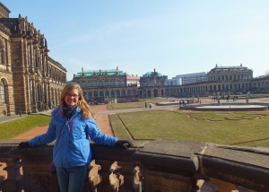 Posing in the courtyard gardens of the Dresden Palace. It was immense and so lovely!