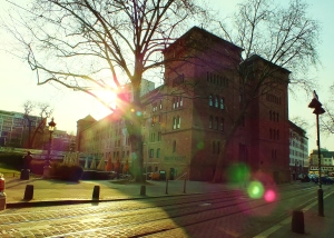 This is the Proviant-Magazin in Mainz.  I love the building and I love the sunlight in the picture.
