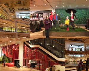 A collage of photos I took inside the Globetrotter store; there was actually a multi-story climbing wall, an indoor pond, and rain falling from the ceiling.