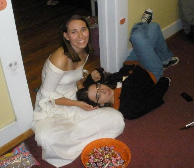 Lying on the floor and eating candy was a much more typical activity for us!