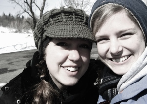 Sarah and I were all bundled up for a day in the snowy Czech mountains!