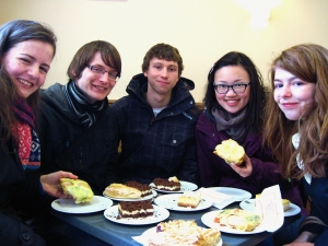 German bakery. Delectable.  (left to right: Anna, Scott, Nick, Christabel, and Hannah)