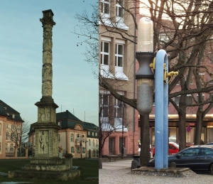Left: a Roman column of Jupiter still standing Right: a larger-than-life hourglass that actually turns; we happened to be there just about on the hour