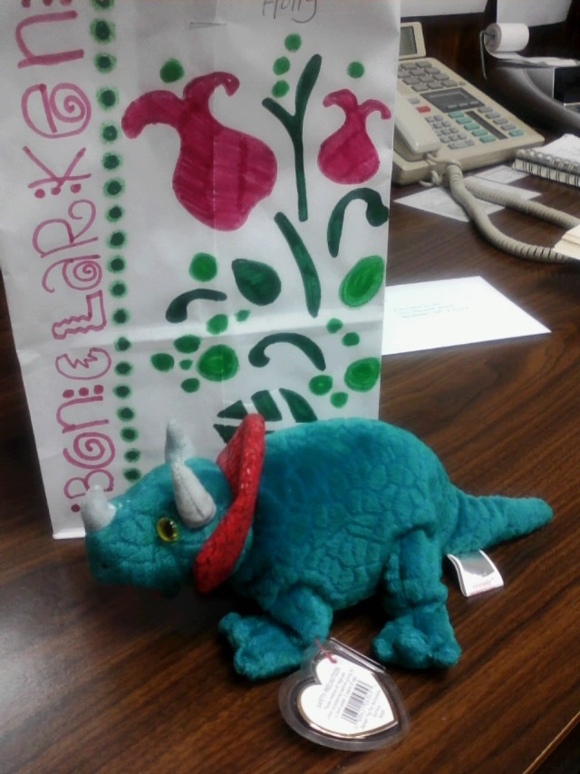 A stuffed Baby Dinosaur from Betty, her name is Desdemona :)