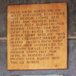 A beautiful German prayer asking the Lord to be the light that we may walk by in the darkness of our lives.