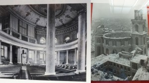 Left: what the church looked like when it was first built Right: after the bombing of Frankfurt during WWII