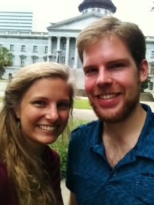 All smiles after taking a dance break on the state capitol building.