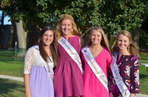 The senior court: Cate Cardinale, Corin Hallman, Leslie McGill, and April Horne.