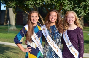 The sophomore court: Hayley Rogers, Miranda Guthrie, and Elinor Griffin.