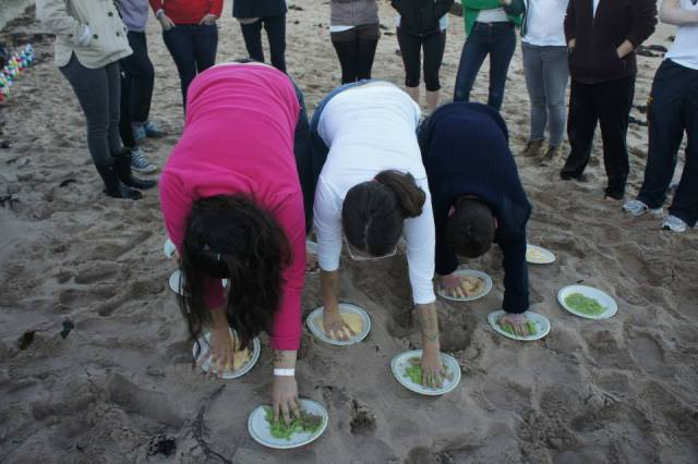 We started the beach party with a new, food based, version of twister!