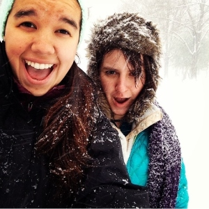roommates having fun in the snow! Cali Colbert & Jordan Joseph, both c/o '17