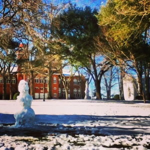 someone built a snowman under the Towers! (Erskine Building and Philo Hall in the background)