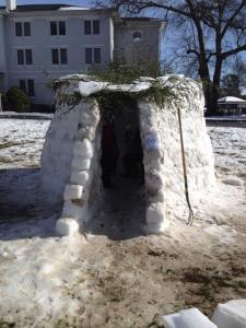 "a group of ""Erskimos"" spent hours building an igloo on The Circle! Over 30 people, including the Due West police, helped out. photo from Jeanne Bell"