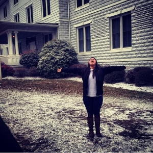 Norma Deluna ('17) catching snowflakes