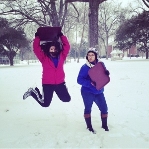 ready to go sledding! Norma Deluna & Clarissa Stiving, both c/o '17