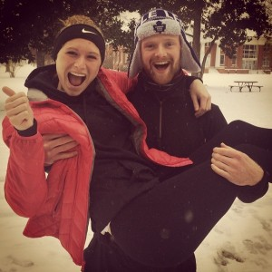 friends in the snow! Danica Newton & Ross McEwan, both c/o '17