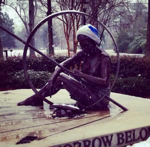 Someone gave the statue some hipster accessories a few weeks ago. photo from Tegan Van Rijn '17