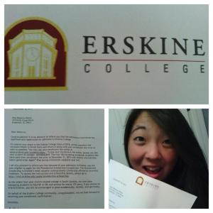 My Erskine acceptance letter