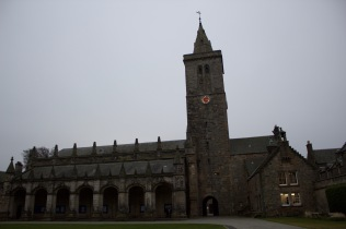 The clock tower in St. Salvator's Quad