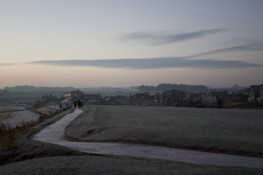 A frosted footpath near East Sands