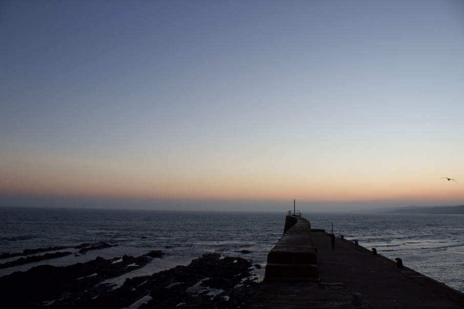The East Sands pier during sunrise